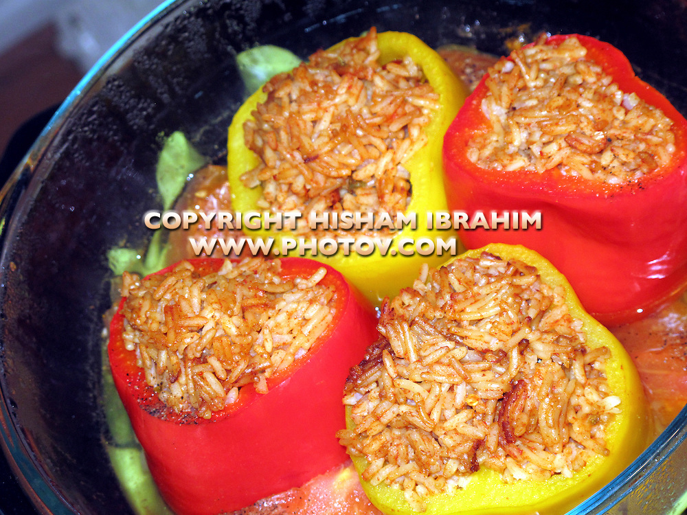Stuffed peppers with rice and ground beef - Middle Eastern Food