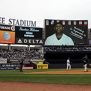 CC Sabathia, New York Yankees, on the stadium screen helping fans with Japanese language lessons before the New York Yankees V Baltimore Orioles home opening day at Yankee Stadium, The Bronx, New York. 7th April 2014. Photo Tim Clayton