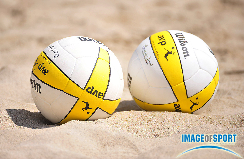 Jul 27, 2008; Long Beach, CA, USA; AVP Wilson volleyballs on the sand at the AVP Long Beach Open at Marina Green Park. Mandatory Credit: Kirby Lee/Image of Sport-US PRESSWIRE