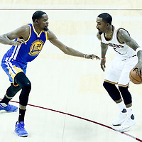 07 June 2017: Golden State Warriors forward Kevin Durant (35) defends on Cleveland Cavaliers guard JR Smith (5) during the Golden State Warriors 118-113 victory over the Cleveland Cavaliers, in game 3 of the 2017 NBA Finals, at  the Quicken Loans Arena, Cleveland, Ohio, USA.