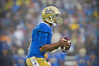 17 October 2012: Quarterback (17) Brett Hundley of the UCLA Bruins drops back to pass against the USC Trojans during the second half of UCLA's 38-28 victory over USC at the Rose Bowl in Pasadena, CA.