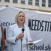 WASHINGTON,DC-JUL13:  Senator Kirsten Gillibrand, NY, speaks at a rally for survivors of sexual assault and their allies, outside the Department of Education, ahead of a series of meetings that Secretary Betsy DeVos is holding with survivors, advocates for the wrongly accused and college administrators. DeVos is considering whether to rollback Obama-era guidance on handling sexual assault, which victims' advocates credit with improving the situation on college campuses, and which others say has led schools to err on the side of finding students guilty of assault even when they are innocent. (Photo by Evelyn Hockstein/For The Washington Post)