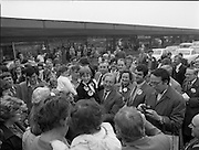 15/05/1982<br /> 05/15/1982<br /> 15 May 1982<br /> An Taoiseach, Mr Charles Haughey, canvasing with Fianna Fail bye-election candidate Eileen Lemass in Dublin West. An Taoiseach meets the people.