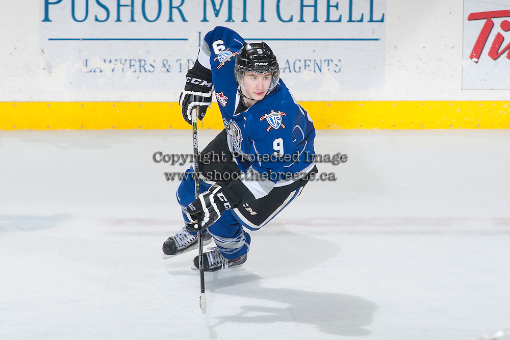 KELOWNA, CANADA - MARCH 11: Jack Walker #9 of Victoria Royals skates against the Kelowna Rockets on March 11, 2015 at Prospera Place in Kelowna, British Columbia, Canada.  (Photo by Marissa Baecker/Shoot the Breeze)  *** Local Caption *** Jack Walker;