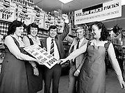 Matt Kidney, former international schoolboy boxer, is congratulated by Mr Sean Kelly, General Manager of Quinnsworth, on achieving sponsorship of £1500 for the forthcoming Dublin Marathon. The sponsorship money was donated to the Central Remedial Clinic. Also in the picture are Miriam Byrne, Ballyfermot, Bernie Byrne, Drimnagh, and Lorraine Kelly, Palmerstown.<br /> 14 October 1981