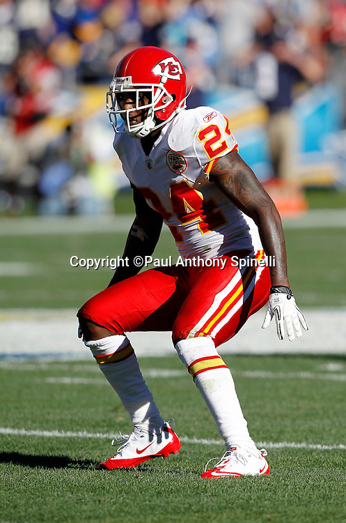 Kansas City Chiefs cornerback Brandon Flowers (24) makes a move in pass coverage during the NFL week 14 football game against the San Diego Chargers on Sunday, December 12, 2010 in San Diego, California. The Chargers won the game 31-0. (©Paul Anthony Spinelli)