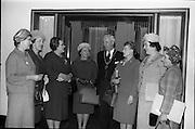 02/06/1964 <br /> 06/02/1964<br /> 02 June 1964<br /> Irish Nurses Organisation Annual General Meeting at Jury's Hotel, Dublin. Picture shows (l-r): Miss E. O'Sullivan, 1st Vice-President (Dublin); Miss M.I. Howard, Deputy General Secretary, Royal College of Nursing, London (guest speaker); Miss M. McCabe, President I.N.O. (Dublin); Miss M. Burke (Cork);The Lord Mayor, Alderman Sean Moore, T.D.; Miss C. Morton (Mallow); Mrs V. O'Brien (Cork) and Miss H. Healy (Cork).
