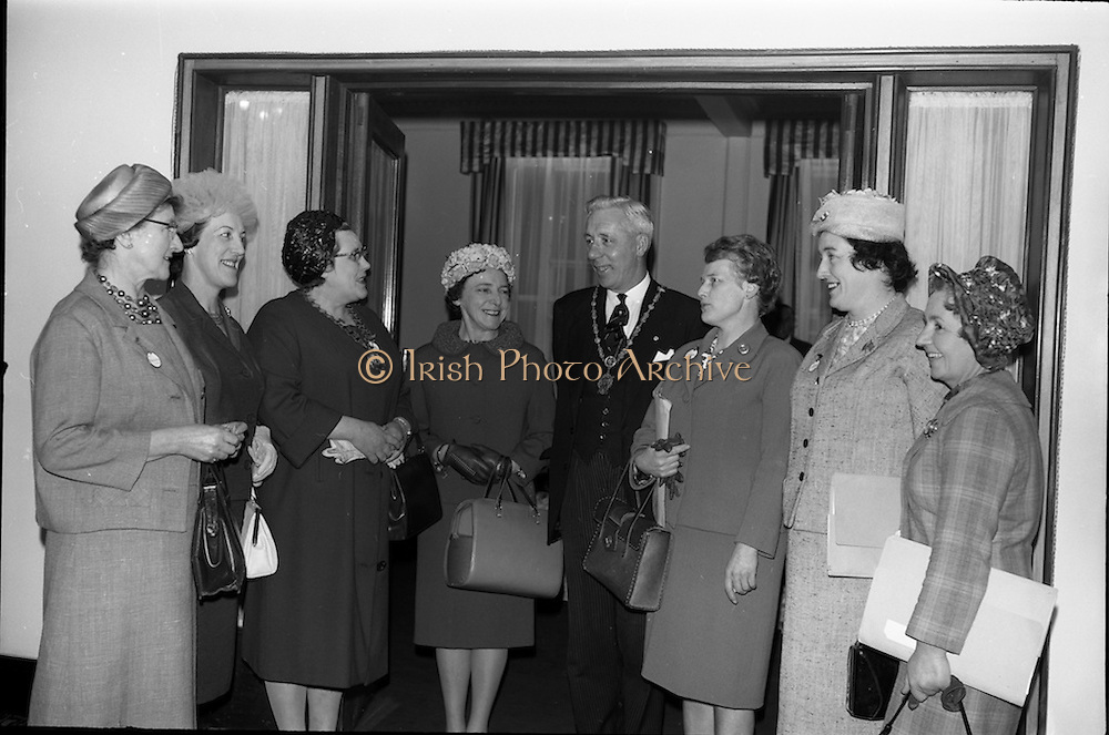 02/06/1964 <br /> 06/02/1964<br /> 02 June 1964<br /> Irish Nurses Organisation Annual General Meeting at Jury's Hotel, Dublin. Picture shows (l-r): Miss E. O'Sullivan, 1st Vice-President (Dublin); Miss M.I. Howard, Deputy General Secretary, Royal College of Nursing, London (guest speaker); Miss M. McCabe, President I.N.O. (Dublin); Miss M. Burke (Cork);The Lord Mayor, Alderman Sean Moore, T.D.; Miss C. Morton (Mallow); Mrs V. O'Brien (Cork) and Miss H. Healy (Cork).