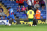 Picture by Paul Chesterton/Focus Images Ltd..26/7/11.Nathaniel Pinney of Crystal Palace takes the ball round John Ruddy of Norwich City to score the only goal of the game during a pre season friendly at Selhurst Park stadium, London