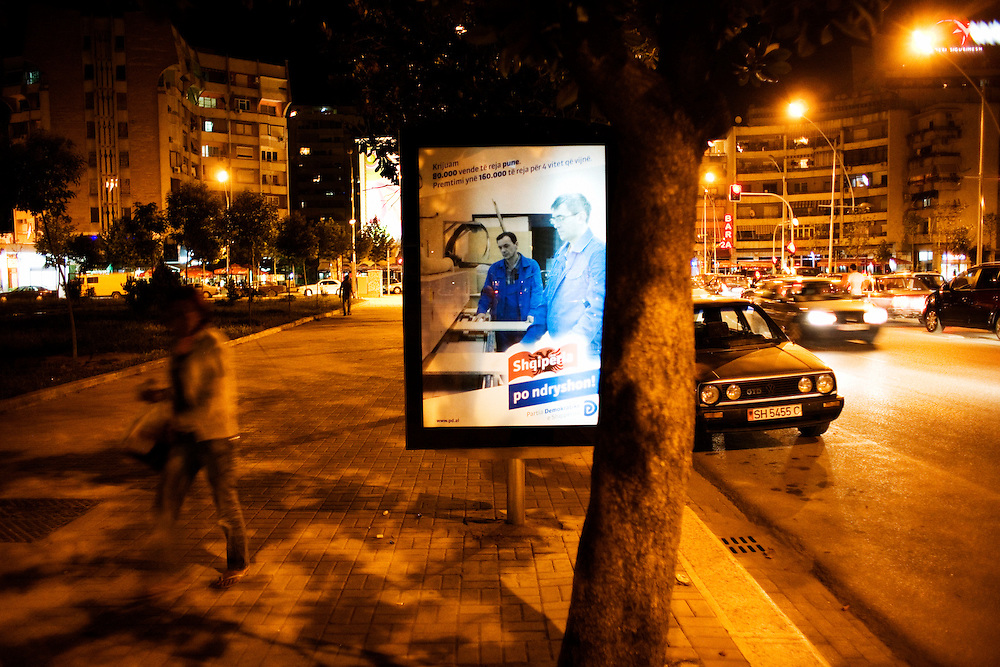 Election poster in downtown Tirana for Sali Berisha's party.