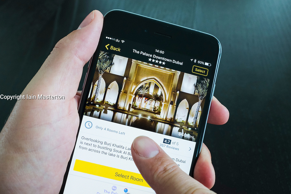 Palace Hotel luxury hotel on Expedia app on iPhone 6 Plus smart phone