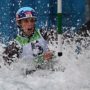 Vavrinec Hradilek, Czech Republic, in action during the Kayak Single (K1) Men Final during the Canoe Slalom competition at Lee Valley White Water Centre during the London 2012 Olympic games. London, UK. 1st August 2012. Photo Tim Clayton