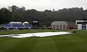 The covers on University Oval due to constant rain on day 5. New Zealand v West Indies, First Test Match, National Bank Test Series, University Oval, Dunedin, Monday 15 December 2008. Photo: Andrew Cornaga/PHOTOSPORT