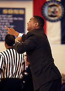 5 FEB. 2010 -- TOWN AND COUNTRY, MO. --  Chaminade Prep coach Kelvins Lee tries to encourage his players during the game between CBC and Chaminade at CBC High School in Town and Country, Mo. Friday, Feb. 5, 2010. Photo (c) copyright by Sid Hastings.