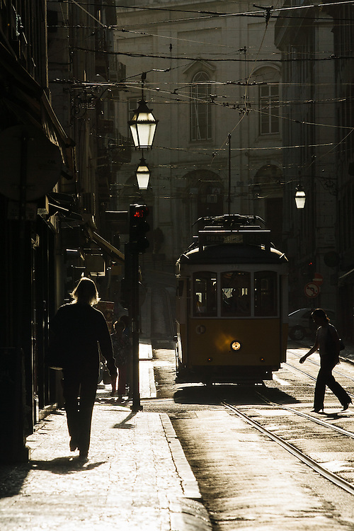 Trolley train downtown.<br /> Photographed by editorial photographer Nathan Lindstrom