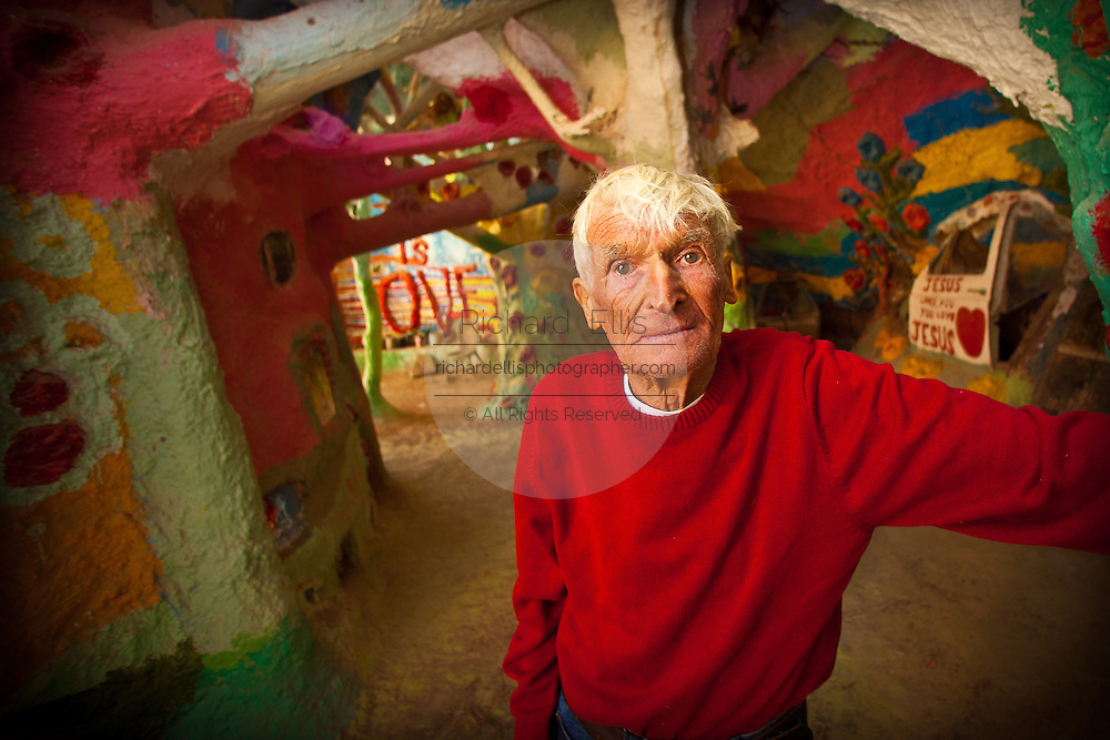 Portrait of Leonard Knight inside his Salvation Mountain in Niland, California