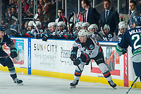 KELOWNA, BC - JANUARY 24: Kyle Topping #24 of the Kelowna Rockets completes a pass against the Seattle Thunderbirds at Prospera Place on January 24, 2020 in Kelowna, Canada. (Photo by Marissa Baecker/Shoot the Breeze)