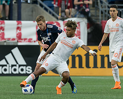 May 30, 2018 - Foxborough, Massachusetts, USA - Foxborough, Massachusetts - May 30, 2018: First half action. In a Major League Soccer (MLS) match, New England Revolution (blue/white) vs Atlanta United FC (white), at Gillette Stadium. (Credit Image: © Andrew Katsampes/ISIPhotos via ZUMA Wire)
