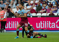 Football - 2019 / 2020 Premier League - West Ham United vs. Norwich <br /> <br /> Ryan Fredericks (West Ham United) reacts after a fouls is given against him at the London Stadium<br /> <br /> COLORSPORT/DANIEL BEARHAM