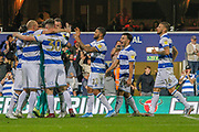 Queens Park Rangers players celebrate after their successful penalty shoot-out during the EFL Cup match between Queens Park Rangers and Bristol City at the Kiyan Prince Foundation Stadium, London, England on 13 August 2019.
