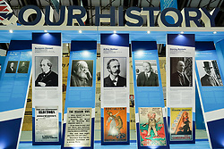 (c) Licensed to London News Pictures. <br /> 02/10/2017<br /> Manchester, UK<br /> <br /> Stands showing party history are displayed at the Conservative Party Conference held over four days at the Manchester Central Convention Complex.<br /> <br /> Photo Credit: Ian Forsyth/LNP