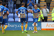 GOAL Simon Whalley celebrates 1-1 during the EFL Sky Bet League 1 match between Shrewsbury Town and Rochdale at Greenhous Meadow, Shrewsbury, England on 19 August 2017. Photo by Daniel Youngs.