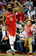 Houston Rockets guard James Harden (13) reacts after making a 3-pointer during the second half of an NBA basketball game against the Utah Jazz, Monday, Dec. 18, 2017, in Houston. Houston won the game 120-99.  (AP Photo/Eric Christian Smith)