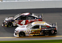 February 9, 2019 - Daytona, FL, U.S. - DAYTONA, FL - FEBRUARY 09: Brandon McReynolds (28) KBR Development Toyota, Todd Gilliland (4) Frontline Enterprises Toyota during the running of the Lucas Oil 200 on February 9, 2019 at Daytona International Speedway in Daytona Beach, Florida (Photo by Jeff Robinson/Icon Sportswire) (Credit Image: © Jeff Robinson/Icon SMI via ZUMA Press)