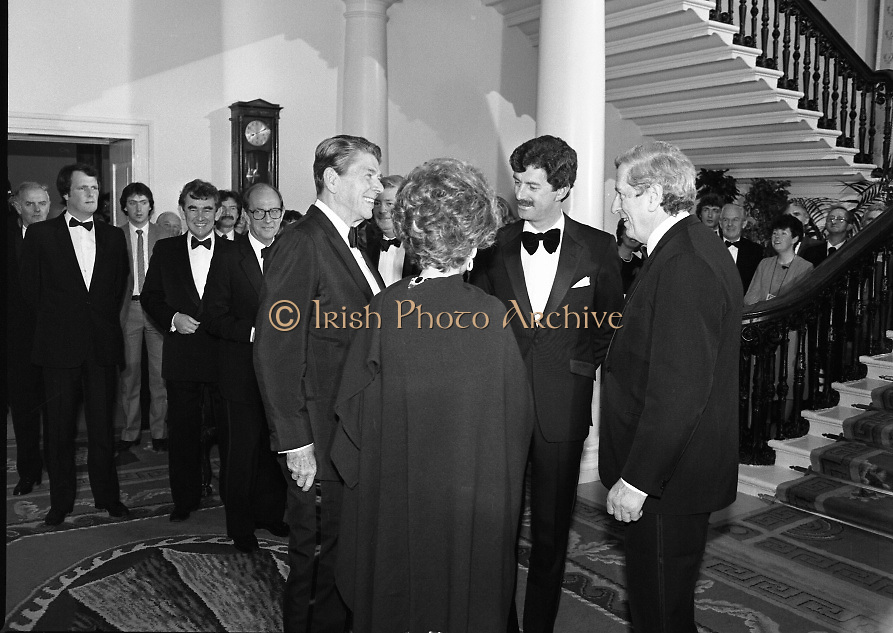 President Reagan Visits Ireland..(formal dinner)..1984.04.06.1984.06.04.1984.4th June 1984..The Banquet for President and Mrs Reagan was held in Dublin Castle,Dame St,Dublin..The Taoiseach,Mr Garret Fitzgerald carries out the introduction of President and Mrs Reagan to the Tanaiste, Mr Dick Spring.
