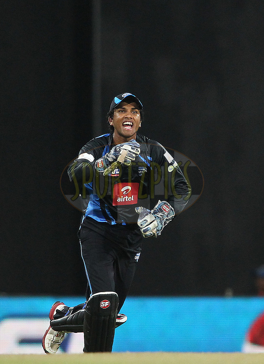 Dinesh Chandimal of Wayamba United celebrates after taking the catch to get Bhanuka Rajapakse of Uva Next wicket during the first Semi Final Match of the Sri Lankan Premier League between Uva Next and Wayamba United held at the Premadasa Stadium in Colombo, Sri Lanka on the 28th August 2012. .Photo by Shaun Roy/SPORTZPICS/SLPL