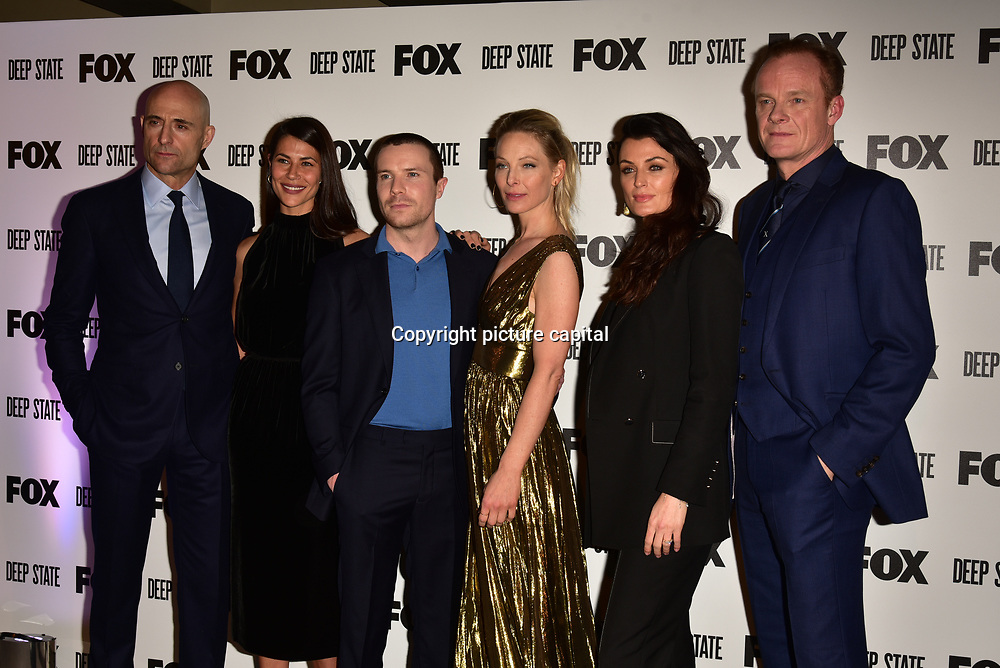 Mark Strong, Karima McAdams, Joe Dempsie, Anastasia Griffith, Lyne Renee, Alistair Petrie Attend the European Premiere Deep State at Curzon Soho on 15 March 2018, London, UK.