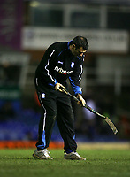 Photo: Rich Eaton.<br /> <br /> Birmingham City v Derby County. Coca Cola Championship. 09/03/2007. A Birmingham City groundsman attends to the pitch at St Andrews shortly before kick off