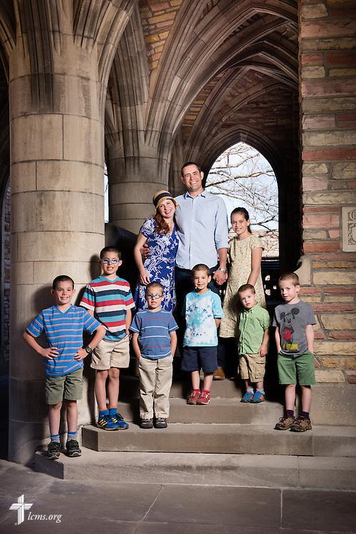 Portrait of seminarian Joshua Palmer and his family at Concordia Seminary, St. Louis, on Monday, March 30, 2015, in Clayton, Mo. LCMS Communications/Erik M. Lunsford