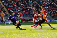 Jamie Jones of Leyton Orient back in goal following a back injury and the recall of Eldin Jakupovic to Hull City denies Aaron McLean of Bradford City (21) during the Sky Bet League 1 match at the Matchroom Stadium, London<br /> Picture by David Horn/Focus Images Ltd +44 7545 970036<br /> 29/03/2014