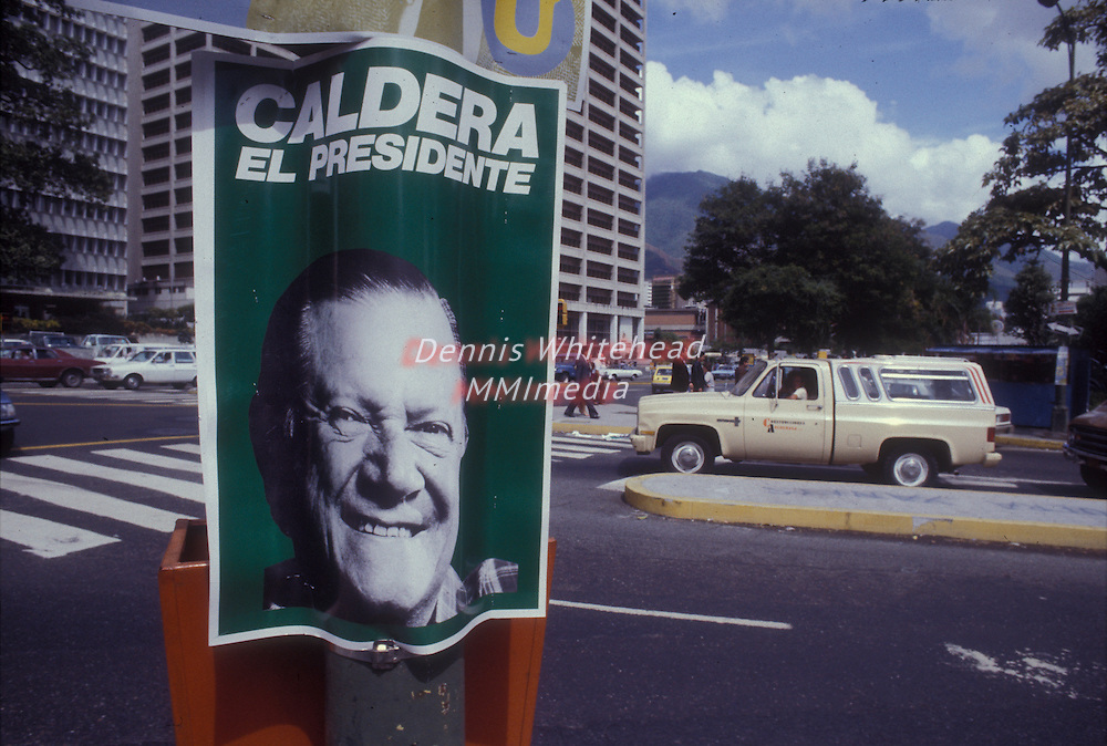 A campaign poster in Caracas, Venezuela in 1982 for two-time President of Venezuela Rafael Caldera, He lost the 1983 election.