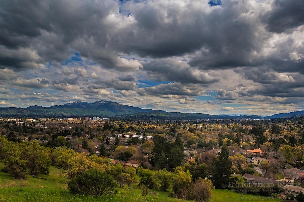 Cumulus clouds in spring over Mount Diablo and Walnut Creek, Contra Costa County, California