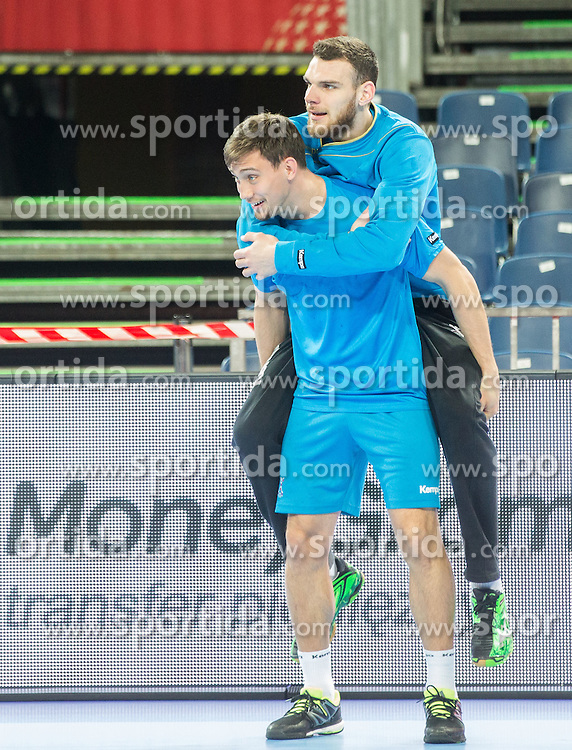Darko Cingesar of Slovenia and Borut Mackovsek of Slovenia during practice session of Team Slovenia on Day 1 of Men's EHF EURO 2016, on January 15, 2016 in Centennial Hall, Wroclaw, Poland. Photo by Vid Ponikvar / Sportida