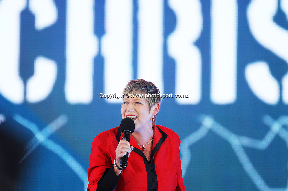 Lianne Dalziel, Mayor of Christchurch on stage during the ICC Cricket World Cup Opening Ceremony venue staged in Hagley Park, Christchurch. 12 February 2015 Photo: Joseph Johnson / www.photosport.co.nz