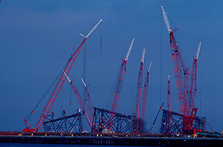 Stock photo of a group of tall cranes