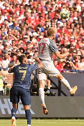 July 28, 2018 - Ann Arbor, MI, U.S. - ANN ARBOR, MI - JULY 28: Liverpool Defender Ragnar Klavan (17) heads the ball before Manchester United Forward Alexis Sanchez (7) can get to it in the ICC soccer match between Manchester United FC and Liverpool FC on July 28, 2018 at Michigan Stadium in Ann Arbor, MI (Photo by Allan Dranberg/Icon Sportswire) (Credit Image: © Allan Dranberg/Icon SMI via ZUMA Press)