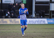 Carl Magnay of Hartlepool United applauds the travelling fans after the EFL Sky Bet League 2 match between Newport County and Hartlepool United at Rodney Parade, Newport, Wales on 28 January 2017. Photo by Andrew Lewis.