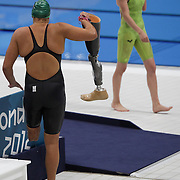 LONDON 2012 PARALYMPIC GAMES.. Pic shows   Paralympic swimmer   Natalie du Toit after winning gold in the Women's 200m Ind. Medley - SM9    at the Aquatics Centre on the Olympic Park on September 6th 2012.