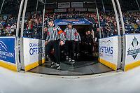 KELOWNA, CANADA - JANUARY 27: Referees Jeff Ingram and Kyle Kowalski enter the ice at the Kelowna Rockets against the Kamloops Blazers on January 27, 2017 at Prospera Place in Kelowna, British Columbia, Canada.  (Photo by Marissa Baecker/Shoot the Breeze)  *** Local Caption ***