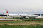Air China Airbus A330-243, passenger jet landing at Linate airport, Milan, Italy