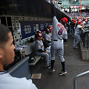 NEW YORK, NEW YORK - July 05: Manager Don Mattingly #8 of the Miami Marlins stretching in the dugout during the Miami Marlins Vs New York Mets regular season MLB game at Citi Field on July 04, 2016 in New York City. (Photo by Tim Clayton/Corbis via Getty Images)