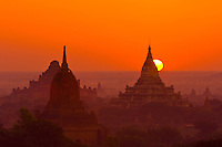 Sunrise over the temples, Bagan, Myanmar (Burma)