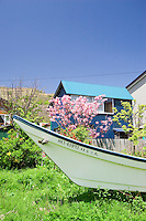 A fishing boat rests in the garden of a local house on the Shimamui Coast.