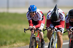 The Massachusetts Institute of Technology team of Seth Behrends, Eric Edlund, Guilherme Issao Fujiwara, and Jason Sears competes in the men's division 2 race.  The 2008 USA Cycling Collegiate National Championships Team Time Trial event was held near Wellington, CO on May 9, 2008.  Teams of 3 or 4 riders raced over a 20km out and back course that ran along a service road to Interstate 25.