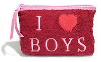 i heart boys red terrycloth beach makeup bag