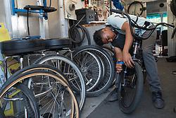 Bike Works bikemobile offers free bike repair at community centers, Seattle, Washington
